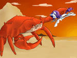 Commission: Rarity Fighting A Giant Crab