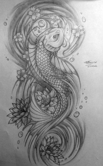 Japan Fish And Lotus Flowers Tattoo By Levin Atanx On Deviantart
