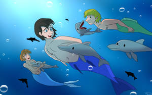 Commission #4: Swimming with Dolphins by CartoonJohnStudios