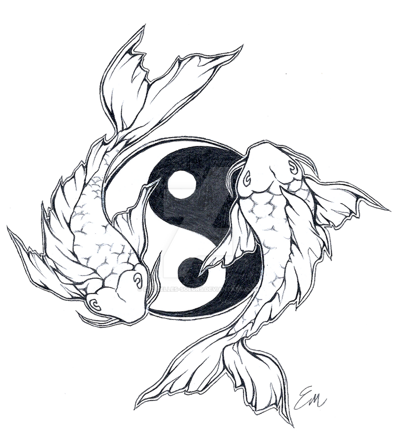 Yinyang koi fish tattoo design by les belles soeurs on for Yin and yang koi fish