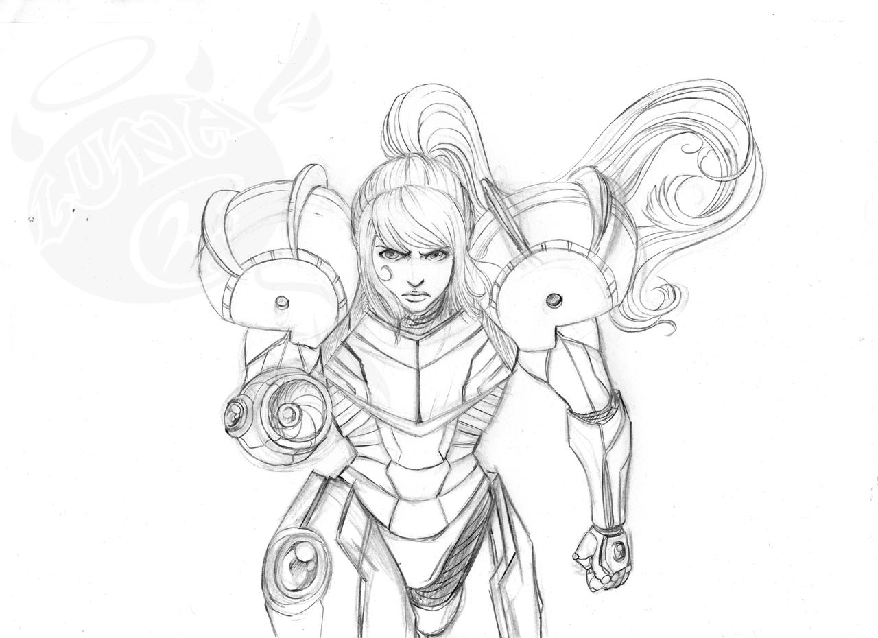 Samus Aran sketch by LunaJMS