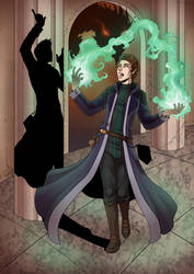 Commission- Mage and his shadow by LunaJMS