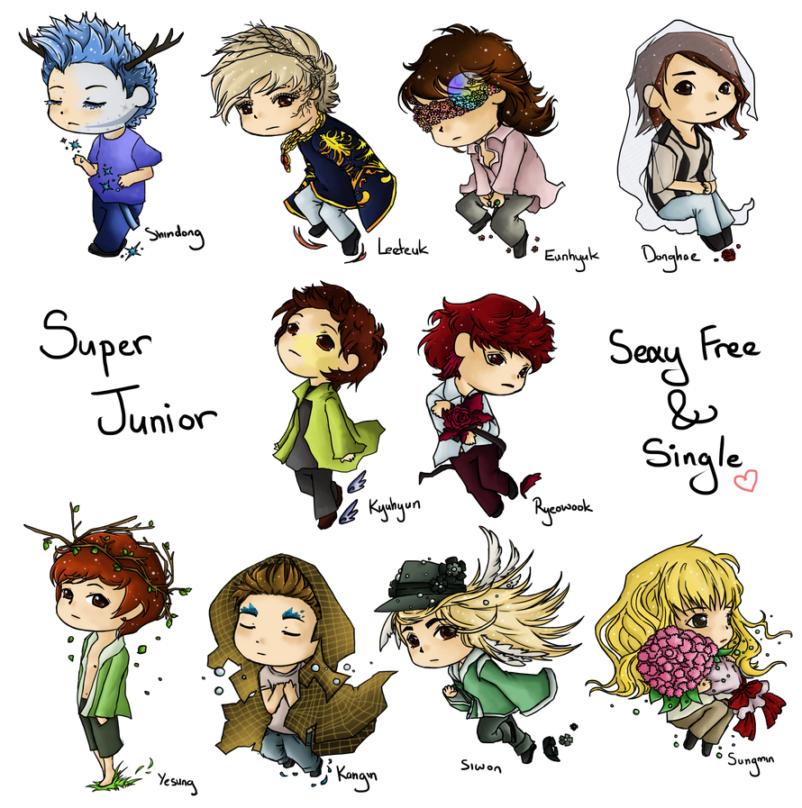 Sexy Free and Single - Super Junior Chibis by Karaiel on DeviantArt: http://x-the-red-angel-x.deviantart.com/art/sexy-free-and-single-super-junior-chibis-313874711