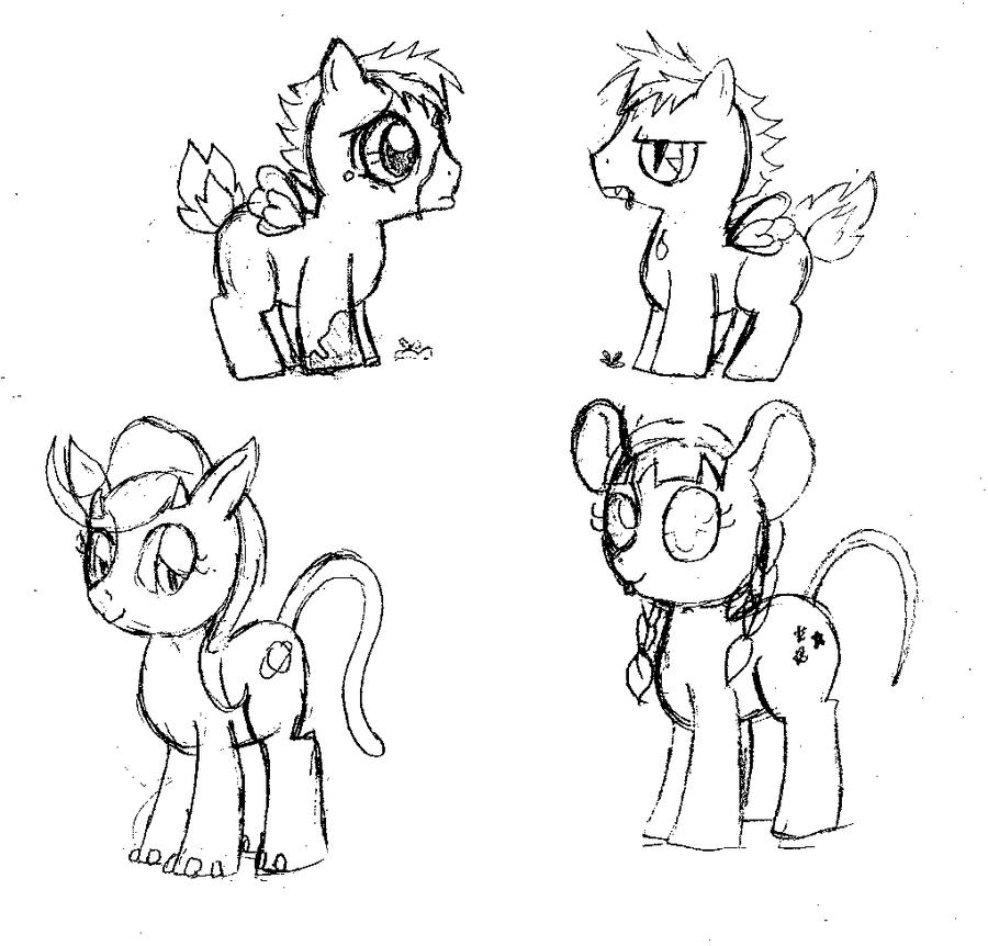 Pony sketches by StrixVanAllen