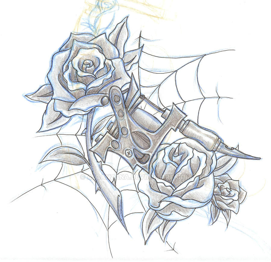 Tattoo Machine Line Drawing : Tattoo machine design by alcanzana on deviantart