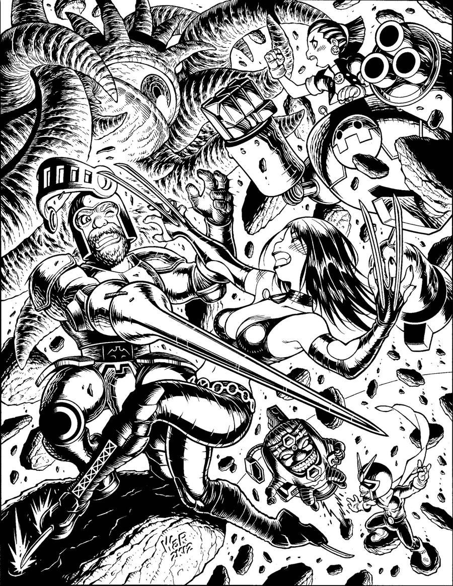 Inks for Udon's MARVEL VS. CAPCOM illo by AdamWarren
