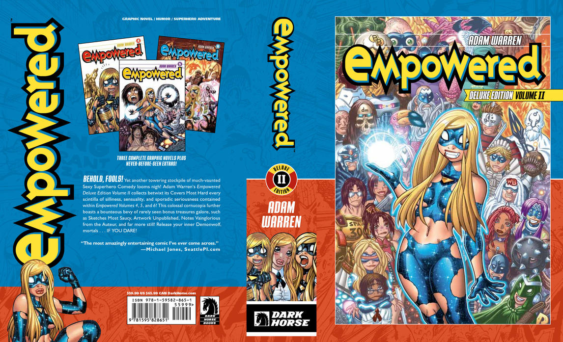 EMPOWERED DELUXE EDITION vol.2 cover, front + back by AdamWarren