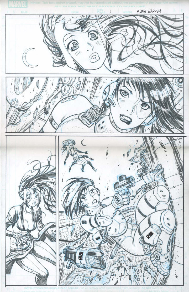 Pencils for Marvel DOMINO/ SCARLET WITCH page by AdamWarren
