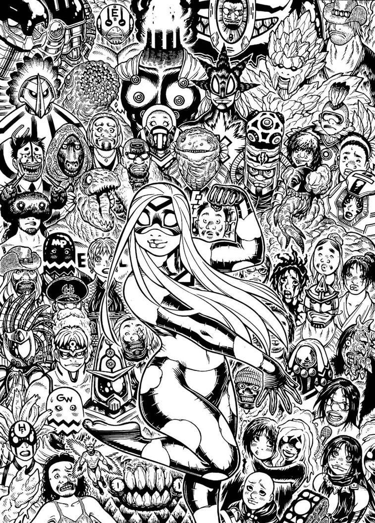 Cover inks for EMPOWERED DELUXE vol.3 by AdamWarren