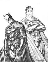 2009 BATMAN and SUPERMAN con sketch by AdamWarren