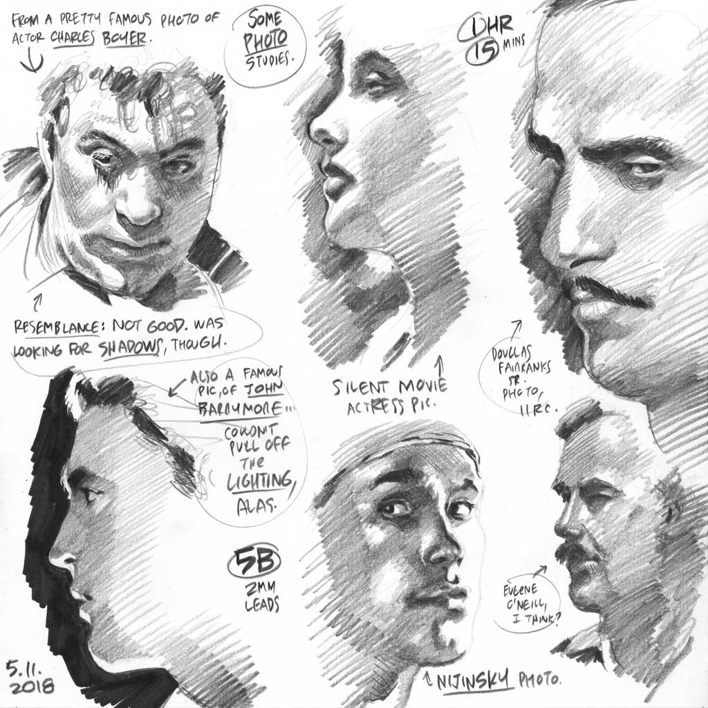 Sketches from early-1900s celeb photos, 5-11-2018 by AdamWarren