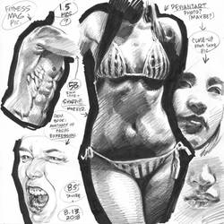 Life drawings from photoreference, 2018-08-13