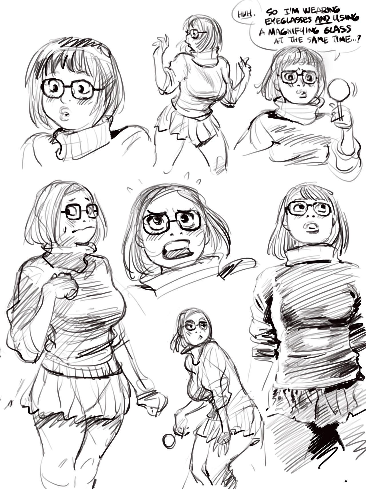 Sketch set of SCOOBY DOO's Velma, via Procreate