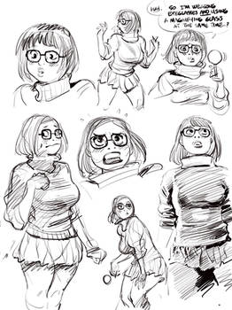 Sketch set of SCOOBY DOO's Velma, via Procreate