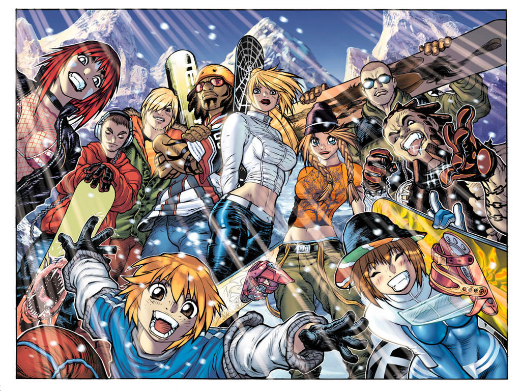 SSX3 Big Group Shot illo by AdamWarren