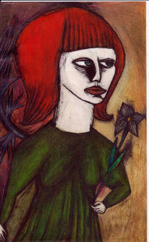 red hair and  flower