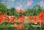 double exposure  with flowers