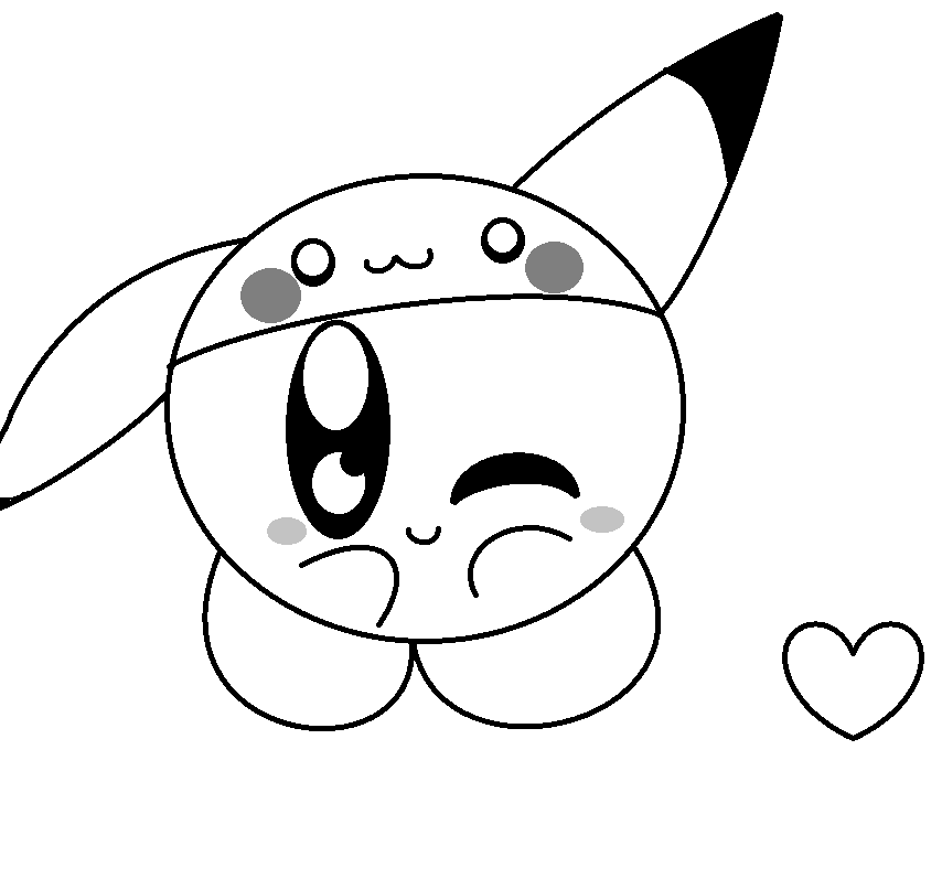 The gallery for cute kirby and pikachu for Cute kirby coloring pages