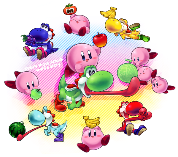 Kirby's mass attack and Yoshi's story combine by AnarchyAngel91