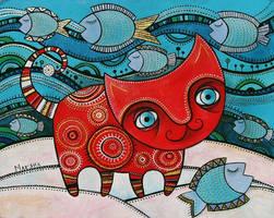 Red cat by MaryanaKopylova