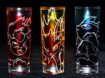 Flareon, Jolteon + Vaporeon shot glasses (On Sale) by PokeEtch