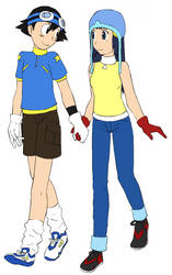 Cosplay #1: Ash and Dawn as Digimon Tamers
