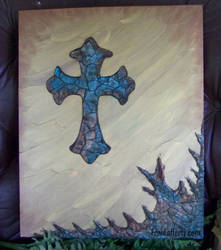 Crackle Cross on Gold