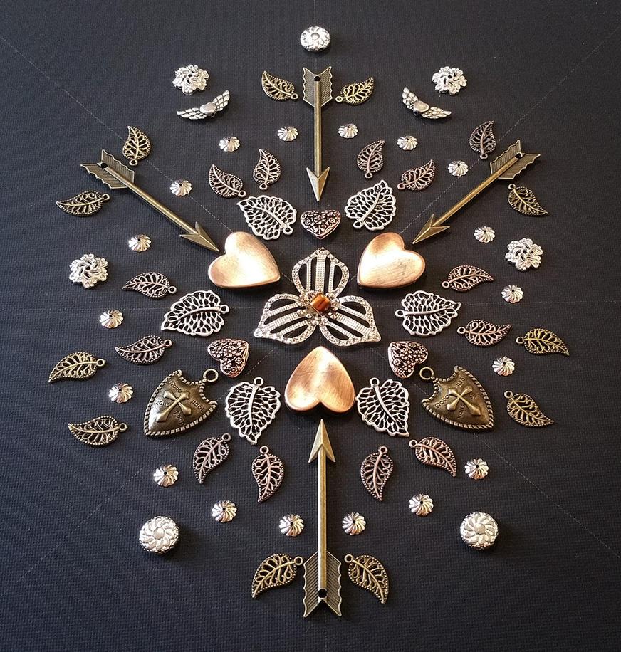 Copper Hearts Freeform Mandala by mirroreyes1