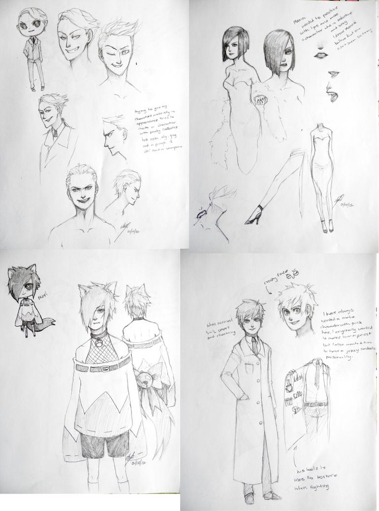 Character Sketches 1 by rawdi-kun