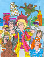 Doctor Who/ Futurama Sixth Doctor (With Color) by JayRobArt