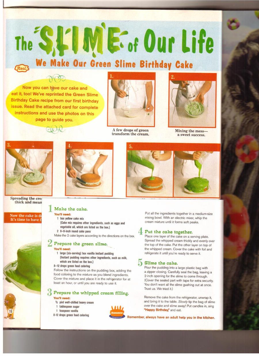 Nickelodeon Magazine Slime Cake Recipe