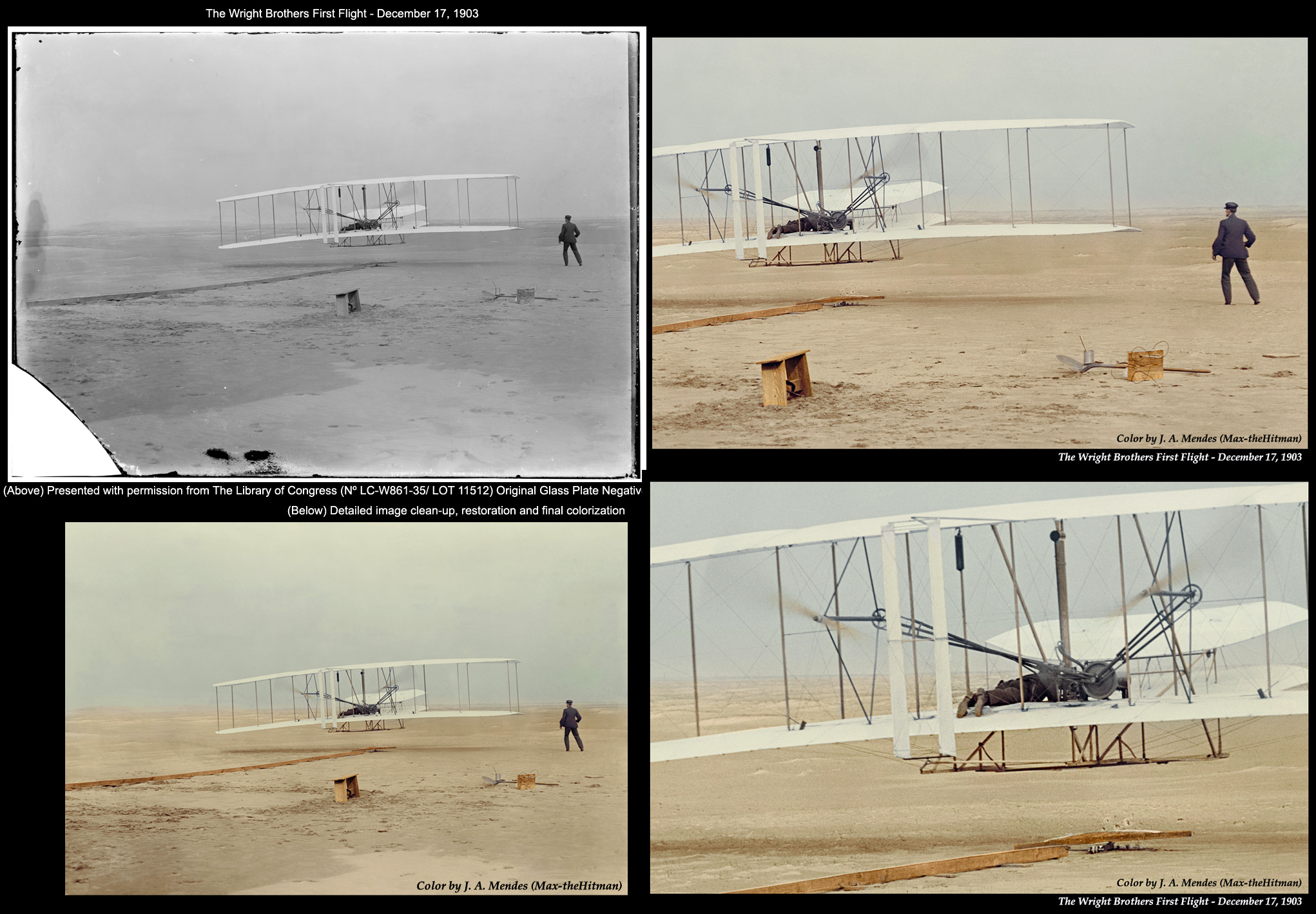 First Wright Brothers Flight in wright brothers 1903 first flight in colormaxhitman on deviantart