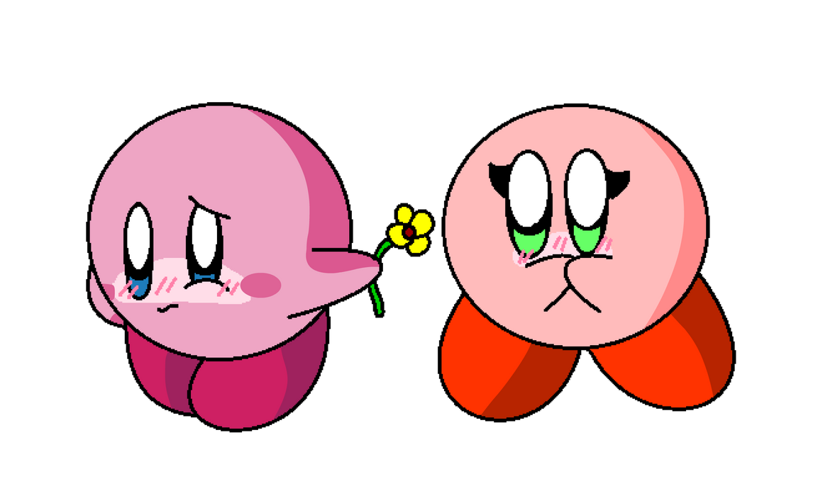 Kirby give the flower by KingAsylus91