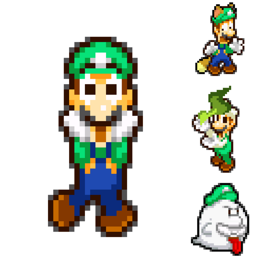 Luigi and his Powerup Forms by KingAsylus91