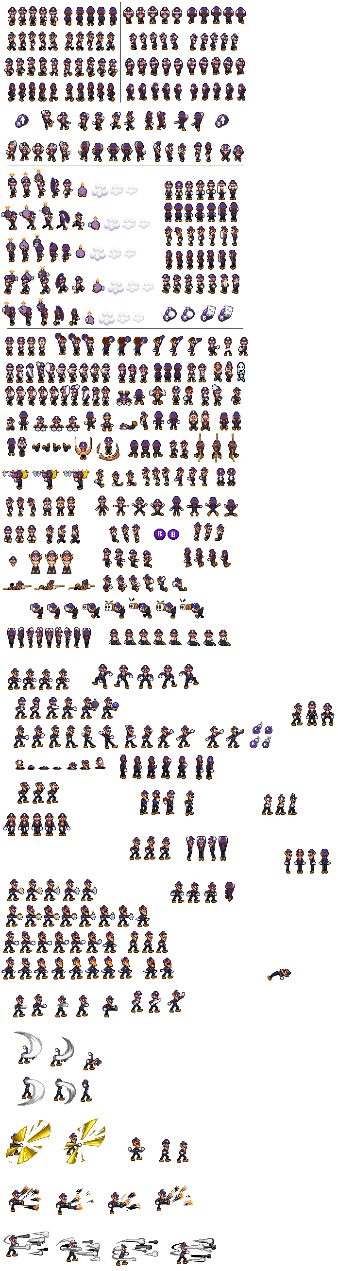 Waluigi Sprite Sheet (SMB Heroes of the Stars) by KingAsylus91