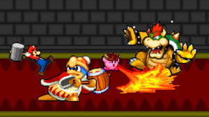 Art Trade - Mario and Kirby vs. Dedede and Bowser by AsylusGoji91