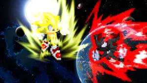 Birthday Gift - Super Sonic vs. Dark Shadow by AsylusGoji91