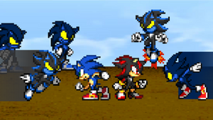 Art Trade - Sonic and Shadow vs Darkside Creatures by AsylusGoji91