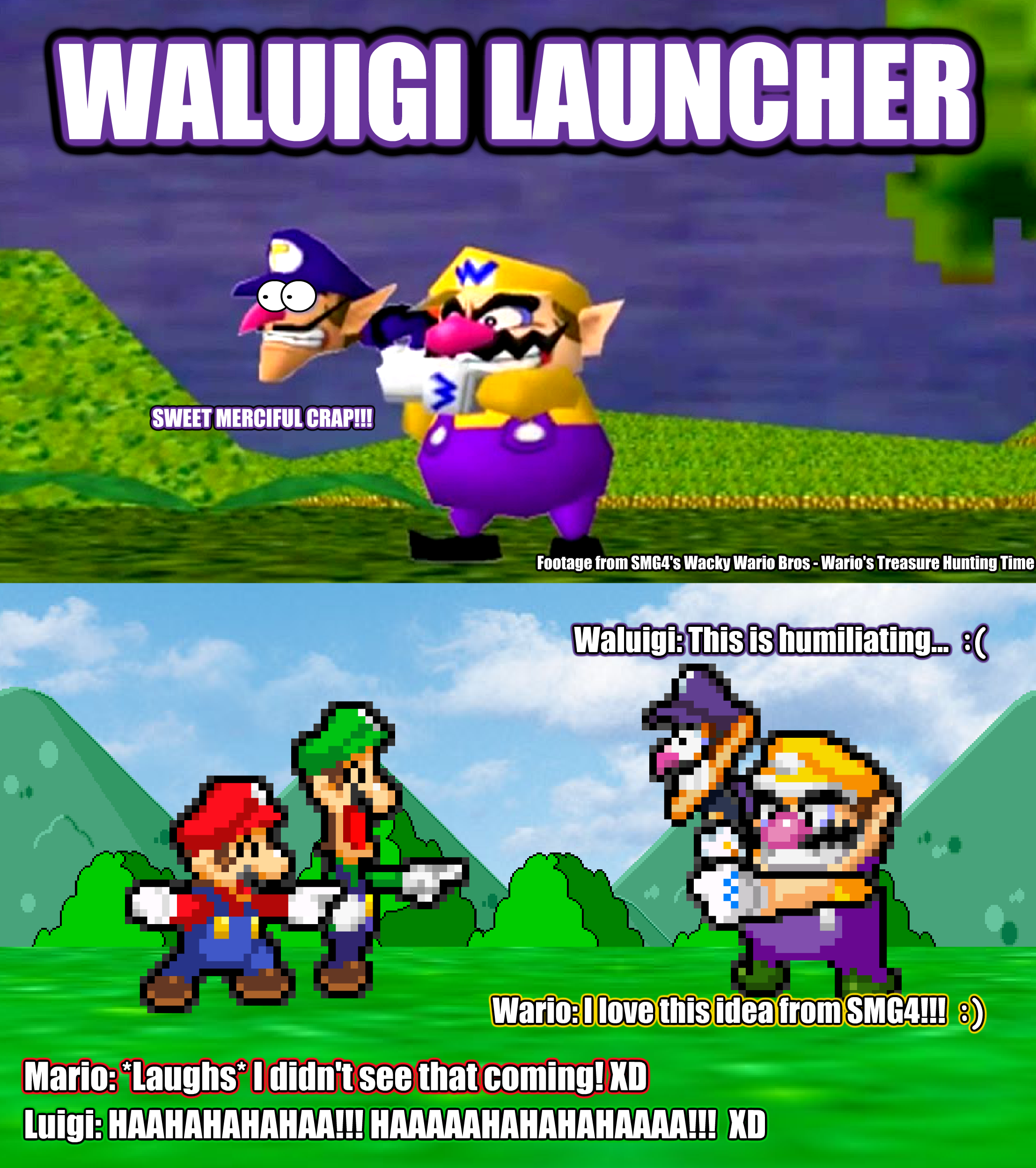SMBHotS Mario Bros Reaction Of Waluigi Launcher By