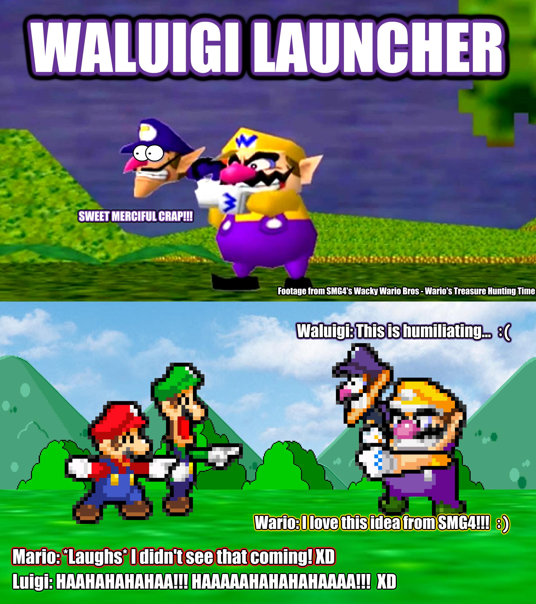 SMBHotS Mario Bros Reaction Of Waluigi Launcher By