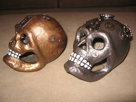 Steampunk Skulls 12 and 15 (SOLD) by angelacapel
