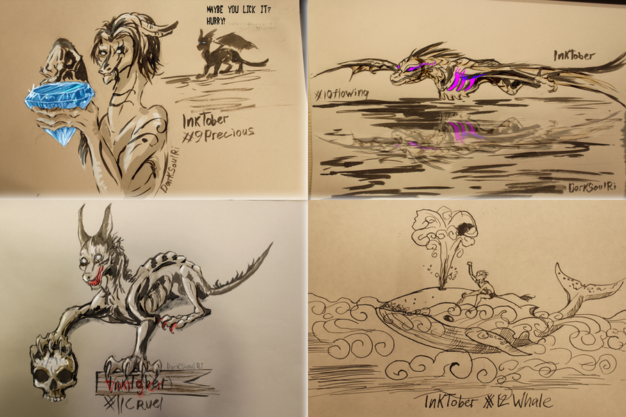 Four days of InkTober by AnimaTenebroso