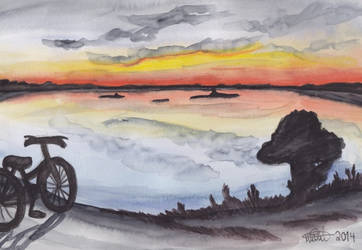 Sunset and a bicycle