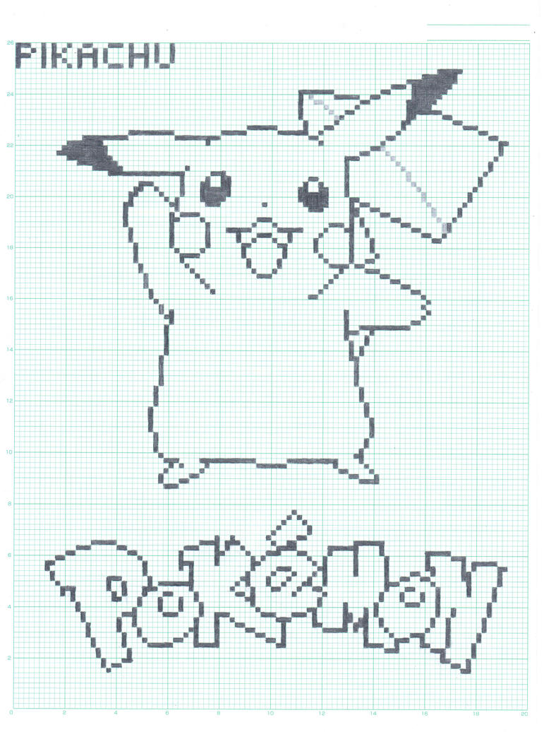Pikachu - Graph Paper Ver. by FlamingSalad