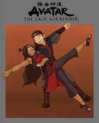 Aang and Katara by Kuro-Akumako