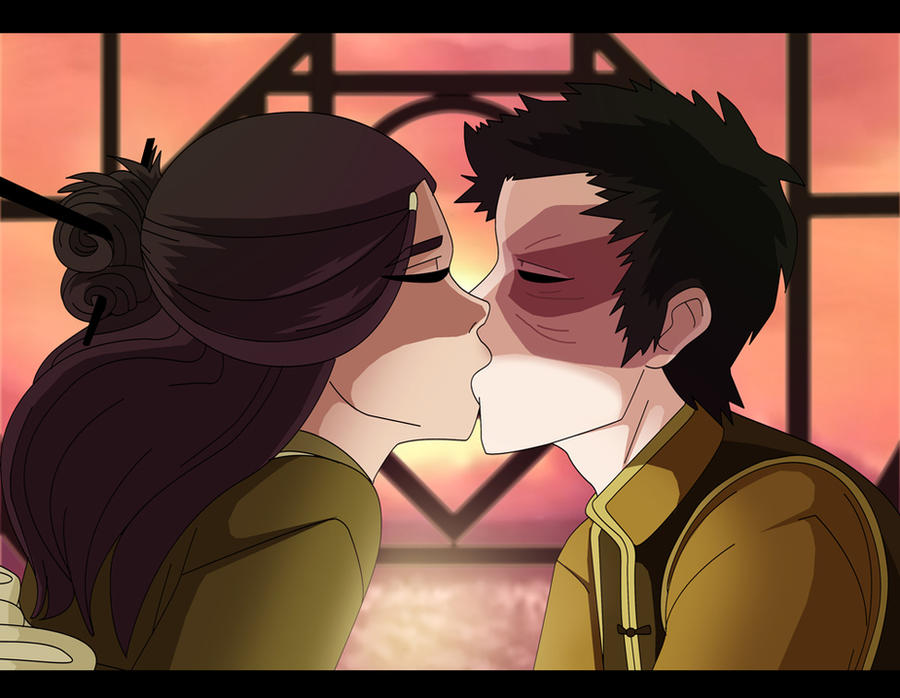 Zutara week day 4 Date kiss by Kuro-Akumako