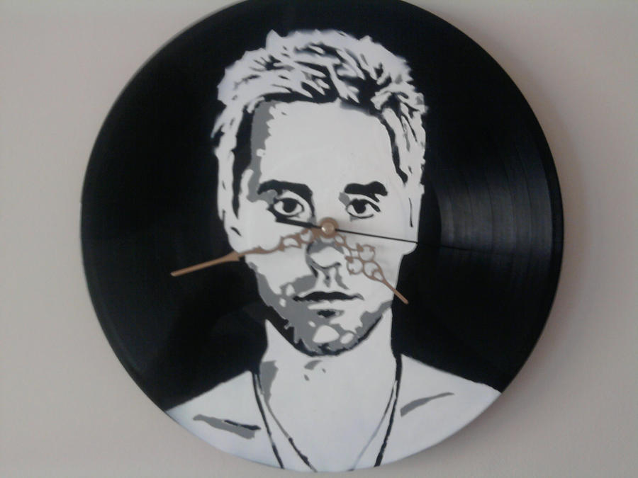 Jared Leto stencil on vinyl clock by vantidus