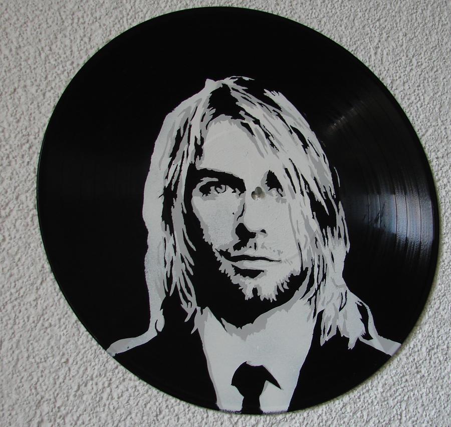 Kurt Cobain on vinyl record by vantidus