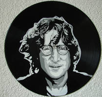 John Lennon on vinyl record by vantidus