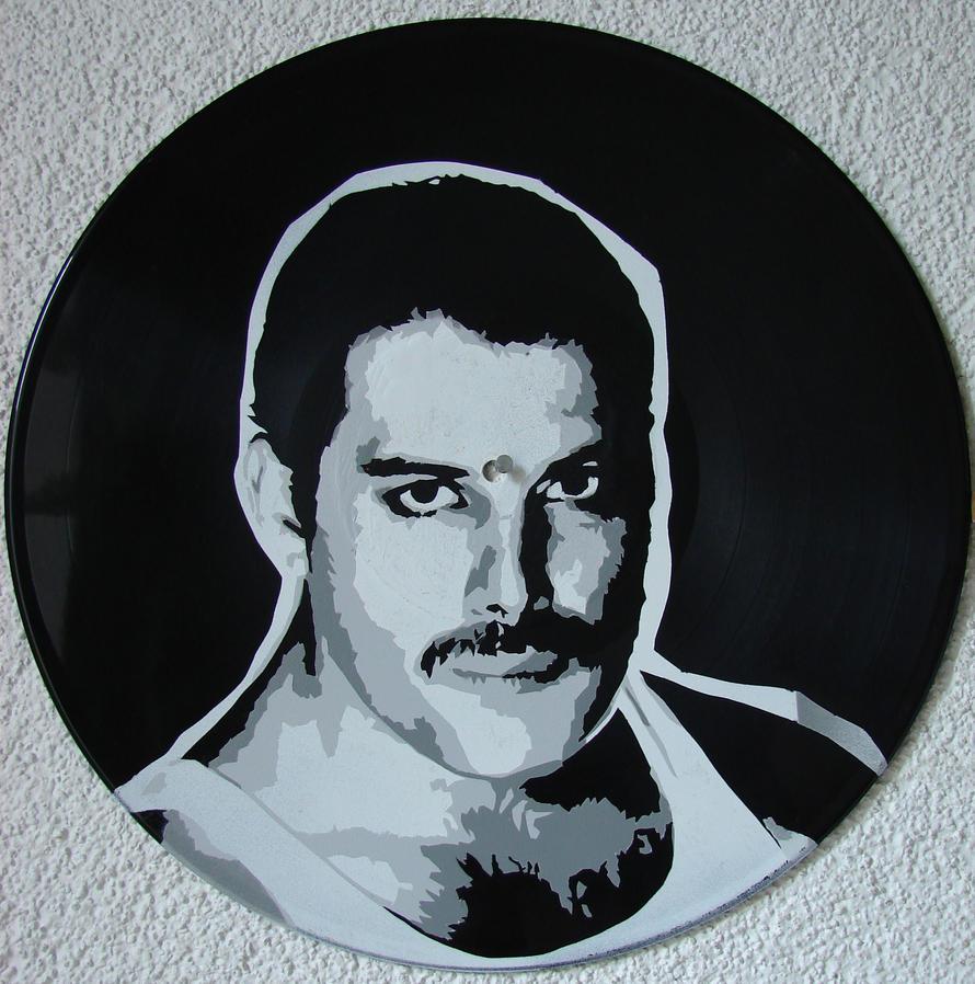Freddie Mercury on vinyl record by vantidus